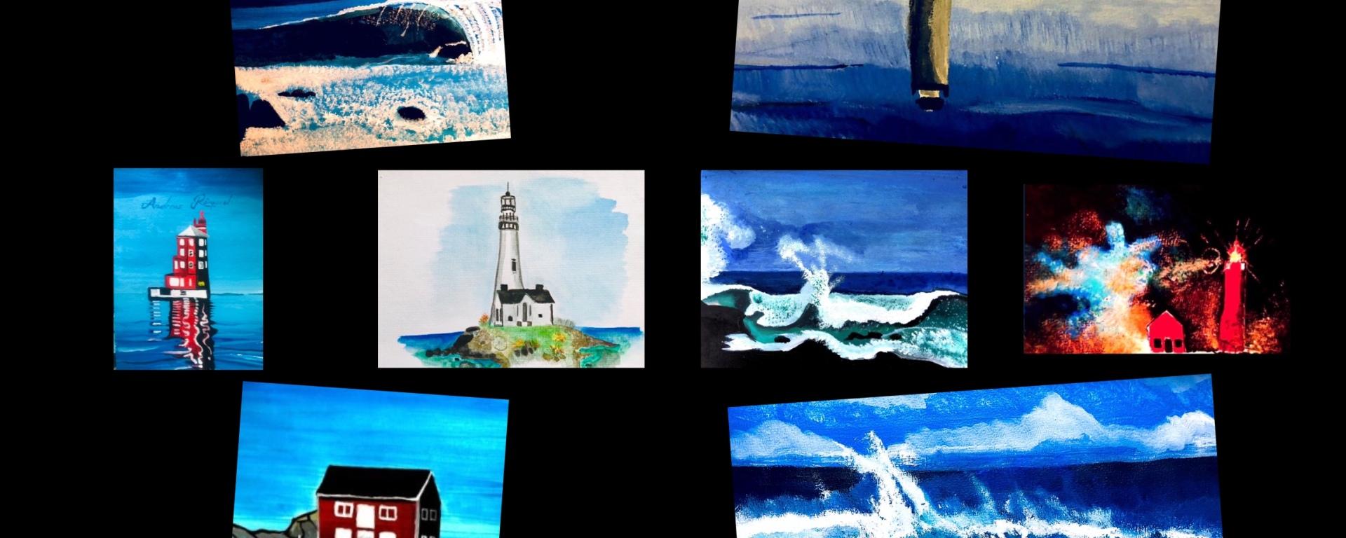 Art - Andreas Douglas Rörqvist Konst Hav Vatten Akrylfärg Akvarell